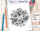 Printable Vintage Flower Coloring Page to Download, Print and Color!