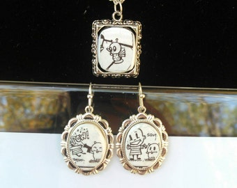 Jthm jewelry set recycled comic book handmade earrings and pendant on silver plated chain jhonen Vasquez spooky cute happy noodle boy