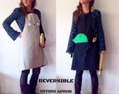 totoro apron with pocket, totoro apron and leaf pot holder,  made in spain, christmas gifts, woman gifts, totoro clothing