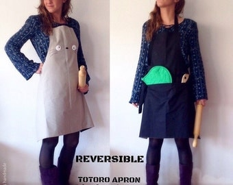 totoro apron, totoro apron with pocket, totoro apron and leaf pot holder, adults totoro aprons, christmas gifts, studio ghibli