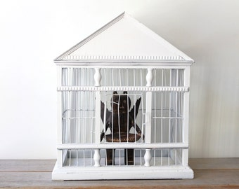 Victorian style vintage wood wire  bird cage / white painted decorative bird cage / country cottage home decor display cage / rustic decor