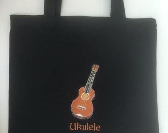 Ukulele Embroidered Tote Bag