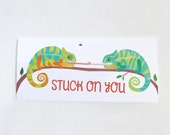 Stuck on you, Chameleon Valentines Day Card: 4x9