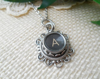 Typewriter Key Jewelry ~ Initial A ~ Personalized Letter Necklace