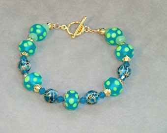 Aqua and lime dotted lampwork bead bracelet with blue and gold cloisonnee beads in gold, swarovski crystal, Aqua Dotty bracelet, boho chic