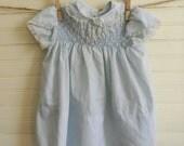 Vintage Baby Dress, Smocked Baby Dress, Blue Cotton Easter Dress, Size 24 Months, Vintage Polly Flinders Dress, Smocked Toddler Dress 2T