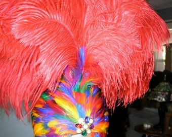 25% OFF Feather Rainbow Headdress with Large Red Feather Plume..Vegas, Showgirl, Burlesque, Circus, Costume Drag queen, Halloween, Pride,Par