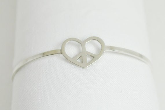 Silver Bangle with Heart and Peace Sign Cutout