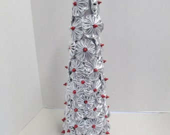 Handmade Silver Lame hand sewn yoyo topiary Christmas tree for mantel or table