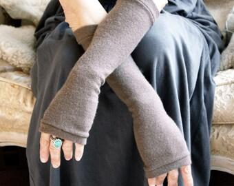 Cashmere Fingerless Gloves in mushroom,  Cashmere Arm Warmers, Womans Fingerless Gloves
