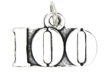 Sterling Silver Number 100 Charm
