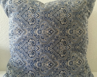 Paisley Blue Pillow Cover 20x20 inch-Throw Pillow, Blue Accent Pillow-Free US Shipping-Home Decor Fabric-Beautiful Blue Pillow Cover