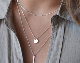 Silver Plated Metal Cable and Statelite Chain Round Circle Disc Plate and Bar Layered Necklace