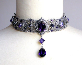 Purple Swarovski Crystal Choker Gothic Wedding Choker Silver Choker Bridal Necklace Victorian Gothic Jewelry Wedding Jewelry