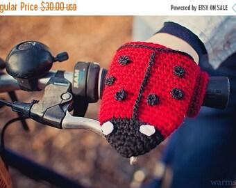 Bike gloves, bike mittens,Ladybug bike handwarmers, bicycle Gloves made of Wool Crochet  perfect birthday gift for bike rider
