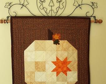 QUILTED PUMPKIN White Cream Pumpkin Orange Star Applique leaves acorn Halloween Thanksgiving Fall decor' mug rug table runner wall hanging
