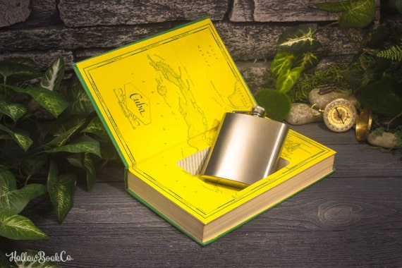 Hollow Book Safe and Whiskey Hip Flask - Islands in the Stream (ERNEST HEMINGWAY)