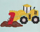 Instant Download - Scraper Truck with number 1 Digitized Embroidery Applique Designs - 4x4, 5x7, and 6x10 hoops