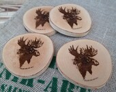 Set of 4 oiled salvaged coasters with lasered drawing - Moose head edition