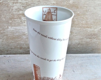 Into The Woods Travel Mug, Large 16 oz Fairy Tale Takeaway Travel Tumbler, Fairytale Characters Tea Mug, Musical Movie Coffee Unique Unusual