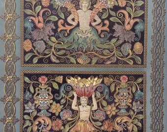 1877 L'Ornement Polychrome Decorative Antique Chromolithograph Gilt 16th Century Decor Print RACINET