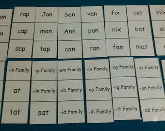 Word Family Flash Cards Laminated, 15 Word Families & 122 Sight Words, Kindergarten and First Grade Learning, Kids Educational, Reading