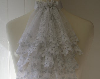 White with silver lace jabot FREE UK SHIPPING