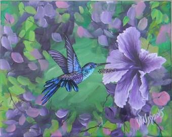 Summer hummingbird, purple hibiscus flower, hummingbird art