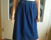 "Vintage Ladies Denim Skirt, ""L.L. Bean Freeport Maine"", Indigo Blue 100% Cotton, Made In USA, Missy Size 10, Early 90's"
