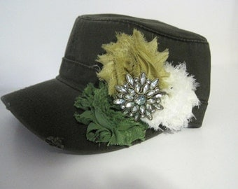 Olive Green Cadet Military Distressed Army Hat with Three Shades of Chiffon Flowers and a Beautiful Green Rhinestone Accent Accessories Hats