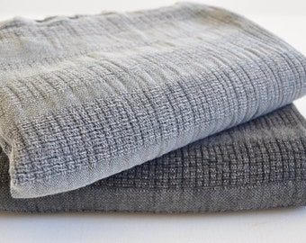 Set of 2 Turkish Towel Peshtemal towels 2 pcs of Stone washed Towel Black and Grey soft, genuine handloomed