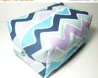 CHRISTMAS In JULY SALE Chevron Makeup Bag  - Cosmetic Pouch -  Lunch Bag - Wet Bag -Waterproof Bag