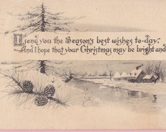 "Ca. 1920 ""Winter Scene"" Pen and Ink Style Christmas Greeting Postcard - 2289"