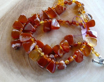 SALE!   17 Inch Carnelian Triangles Necklace and Earring Set
