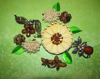 Destash Craft Lot of Vintage Jewelry, Brooches Earrings Enamel Flower Bridal Bouquet