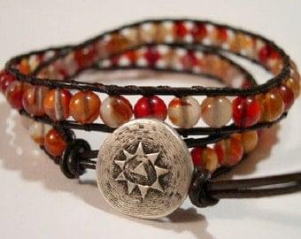 Beaded wrap bracelet, Wrap bracelet, Beaded LeatherWrap, Boho bracelet, Beaded wrap - 840