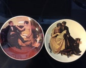 Set of (2) Norman Rockwell 4 inch collector plates vintage