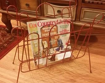 Vintage Wire Magazine Rack, Vintage Magazine Rack, Rustic Magazine Rack