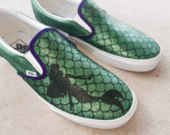 Custom Hand Painted Shoes - Little Mermaid Glitter Scales