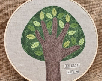 PERSONALIZED grandparents gift, Child's Handprint Art, Handprint Tree, Embroidery Hoop Art, 10 inches, Summer