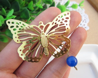 The porous butterflies hollow out flower butterfly Pure copper/ brass/ wedding/50x35mm Environmental protection DIYaccessories/10PCS/ B20372