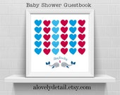 Baby Shower guestbook nautical Whales Guestbook Print  Personalized Print - Nursery Print -(Includes Instruction card)