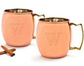 Personalized Moscow Mule Copper Mug w/ Unique Handle (Set of 2)