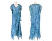 Long Teal Dress Teal Lace Dress Lace Victorian Dress Boho Dress Formal Dress Teal Wedding Dress Long Sleeve Dress Handkerchief Dress Blue
