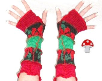Poinsettia Arm Warmers Christmas Fingerless Gloves Floral Holiday Mittens Recycled Upcycled Patchwork Warmies