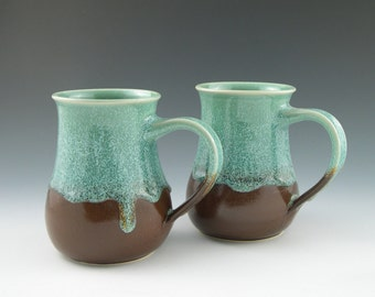 Coffee Mugs in Aqua and Brown Handmade Pottery