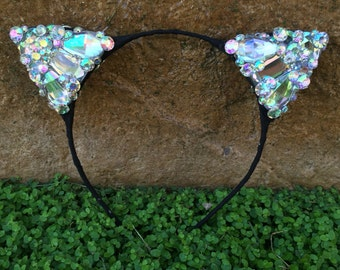 Pre-order Diamond Black Kitty Cat Ears Wire Headband rhinestone jewels Halloween