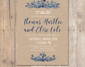 Organic kraft & indigo botanical Wedding Invitation Shower Invitation Printable Invitation OR Printed Card
