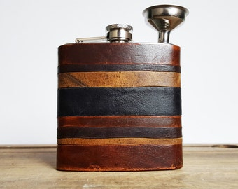 Initialled Leather Flask, Personalized leather Flask, rustic leather strips, distressed hip flask, wedding hip flasks multiple leather flask