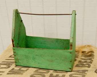 Industrial Wood Tool Box - Green Shabby Wooden Carry All Storage Box